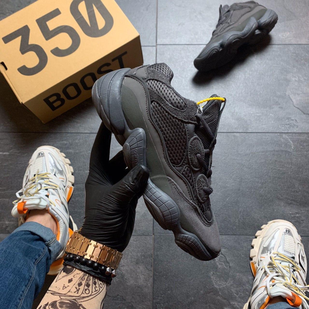 Мужские кроссовки Adidas Yeezy 500 Utility Black, Мужские кроссовки Адидас Изи Буст 500 черные рефлект.