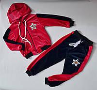 Детский спортивный костюм на девочку 2-6 лет, велюровый, розовый 46231