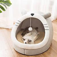 Мягкий домик лежанка с игрушкой для кошек и собак