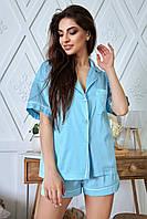 Женская шелковая пижама с рубашкой и шортами ( 1344.4083-4087-4085 svt)