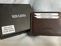 Визитница Neri Karra из кожи + коробок, Neri Karra визитница, визитницы бренд, визитница нери карра для карт