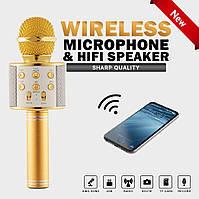 Микрофон-караоке W 858 Bluetooth беспроводной микрофон и динамик 2 в 1,