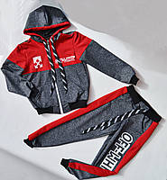 Спортивный костюм на мальчика от 2 до 6 лет, серый с красным цветом, фото 1
