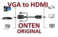 Конвертер кабель VGA to HDMI Onten Original 1,8м  Адаптер + Аудио + Питание OTN-5152