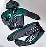 Спортивный костюм на мальчика от 2 до 6 лет, серый с зеленым цветом 21013