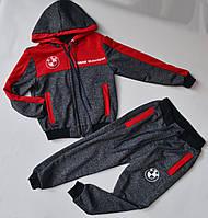 Спортивный костюм на мальчика от 2 до 6 лет, серый с красным цветом 21014