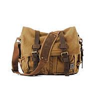 Чоловіча брезентова сумка месенджер s.с.cotton коричневого кольору
