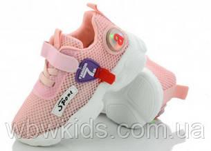 Кросівки дитячі Apawwa NC106-1 для дівчинки рожеві led (тоненька сіточка) р.(21-26)