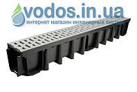 Лоток дренажный СТАНДАРТ 148 мм с решеткой пластиковой ПП А15 (1.5 тоны) и креплением 01719-1 (серый)