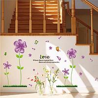 """Наклейка на стену, наклейка цветок, наклейки на шкаф """"фиолетовые цветы с бабочками"""" 80*150см (лист 45*60см)"""