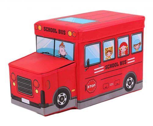 """Детская корзина для игрушек, пуф, """"Школьный автобус"""" (красный) BT-TB-0011"""