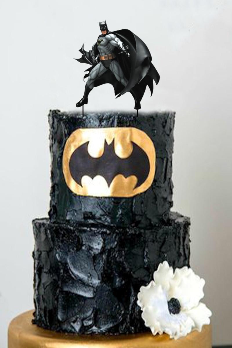 Топпер Бетмен Пластиковый топпер с принтом Batman, Бетмен на торт, Топпер Batman