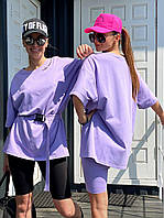 Женский костюм с базовой футболкой с велосипедками+ пояс (42-44 и 44-46,чёрный, белый, черно-белый, беж), фото 1