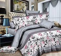 Комплект полуторного постельного белья с цветами