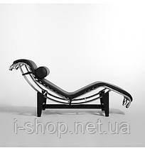 Шезлонг Лекор, нержавеющая сталь, экокожа, цвет черный\белый, фото 3