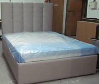Двуспальная кровать с мягой спинкой, кровать для спальни, мягкая мебель для дома купить в Украине Киев, фото 1