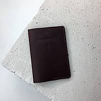 Кожаная обложка на паспорт TREBA 10010 Бордовая