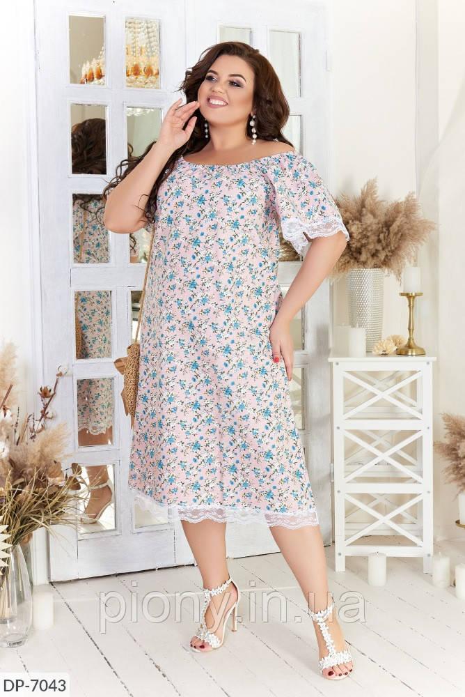 Женское Платье Цветы с кружевом Батал