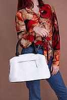 Женская вместительная повседневная сумка из натуральной кожи белая