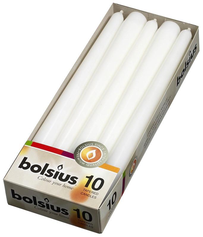 Свеча коническая белая Bolsius 24,5 см 10 шт (30-090Б)