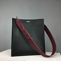 Женская кожаная сумка-шоппер 2.0 TREBA (вместительная сумка,повседневная сумка) Черная