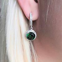Серьги из серебра и вставки зеленого циркония, фото 1
