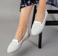 36,37,38 Модные женские кожаные балетки с перфорацией слипоныбелые KL56RS10IN