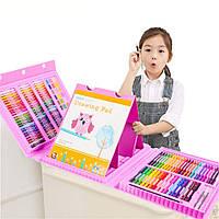 Набор для рисования с мольбертом в чемоданчике Art Set Blue Розовый