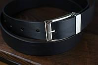 Мужской брючный кожаный ремень черного цвета размер m, фото 4