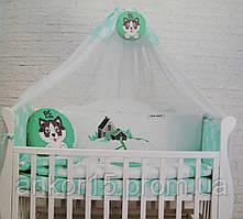 """Постельный комплект в кроватку """"хаски"""" зеленый"""