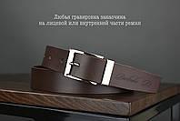 Мужской брючный кожаный ремень коричневого цвета размер l, фото 2