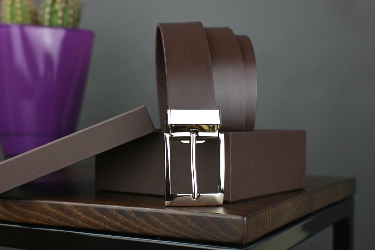 Мужской брючный кожаный ремень коричневого цвета размер l