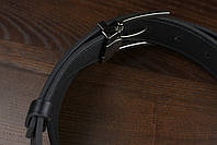 Мужской брючный кожаный ремень прошивной черного цвета размер l 115 см, фото 4