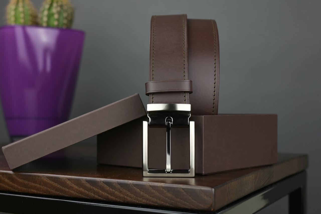 Мужской брючный кожаный ремень прошивной  коричневого цвета размер m 110 см