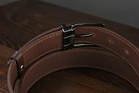 Мужской брючный кожаный ремень прошивной  коричневого цвета размер m 110 см, фото 3