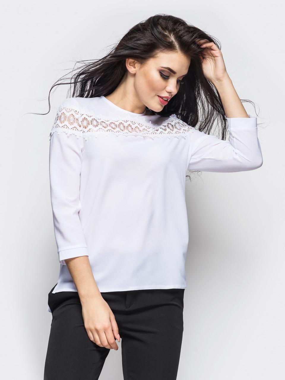 """Стильная белая блузка с кружевом """"Crid"""", размеры 42 - 50"""