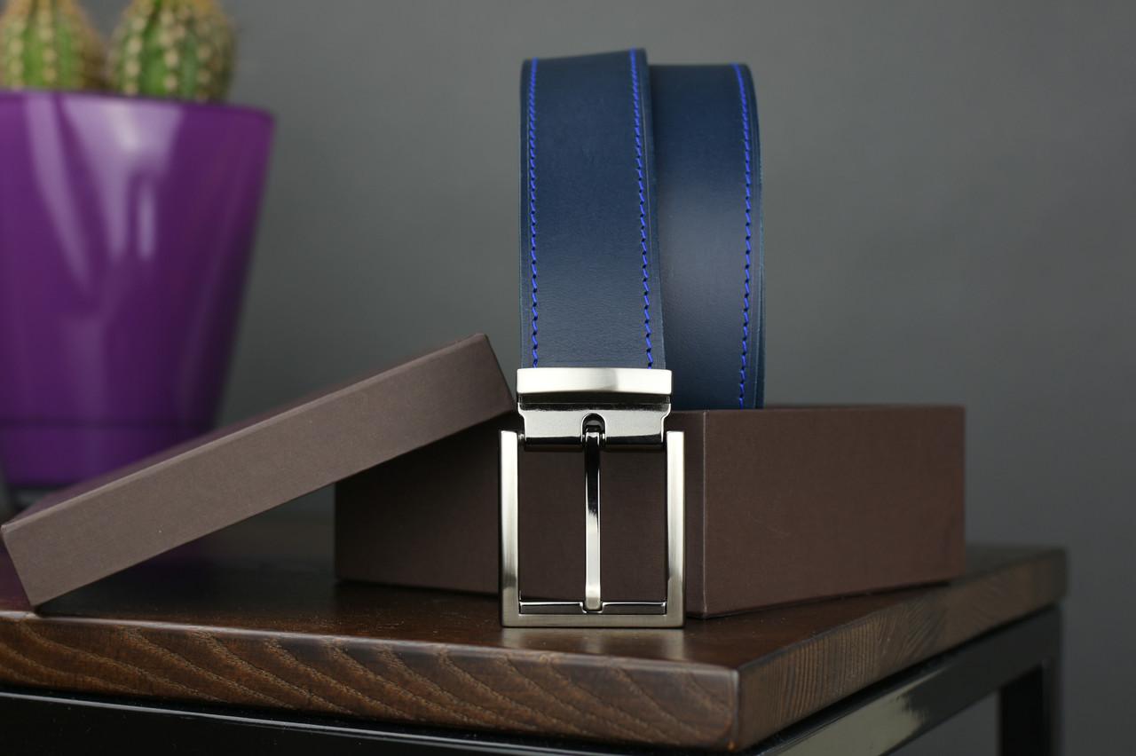 Мужской брючный кожаный ремень прошивной синего цвета размер l 115 см