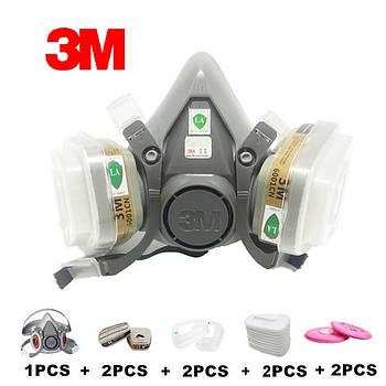 Респіратор напівмаска 3М 6200 з фільтрами 6001 CN, 2091 P100, 5N11 CN 95 9 в 1