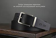 Мужской джинсовый кожаный ремень черного цвета размер m 110 см, фото 2