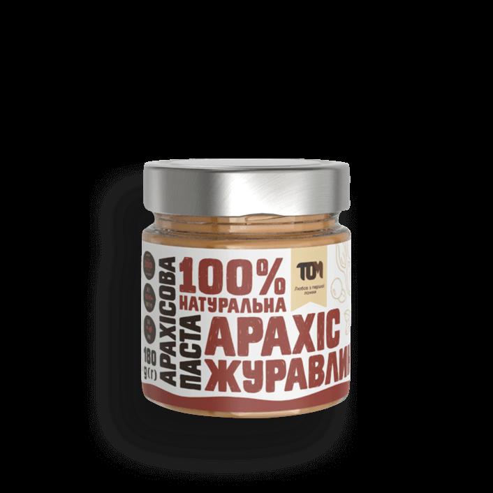 Арахісова паста ТОМ з журавлиною 180 г