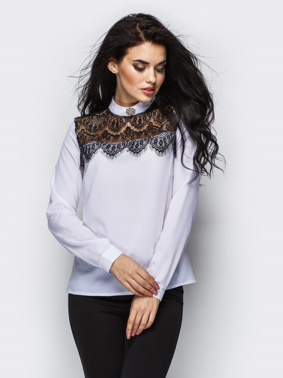 """Молодежная белая блузка с гипюром """"Kriss"""", размеры 42 - 48"""