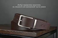 Мужской джинсовый кожаный ремень коричневого цвета размер l 115 см, фото 2