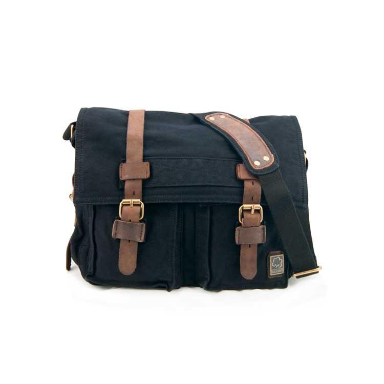 Чоловіча брезентова горизонтальна сумка мессенджер s.c.cotton чорного кольору