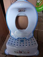 Комплект подставка накладка детские для унитаза увывальника, набор ступенька и вставка, Турция, голубой, фото 1