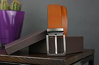 Мужской джинсовый кожаный ремень коньячного цвета размер l 115 см, фото 2