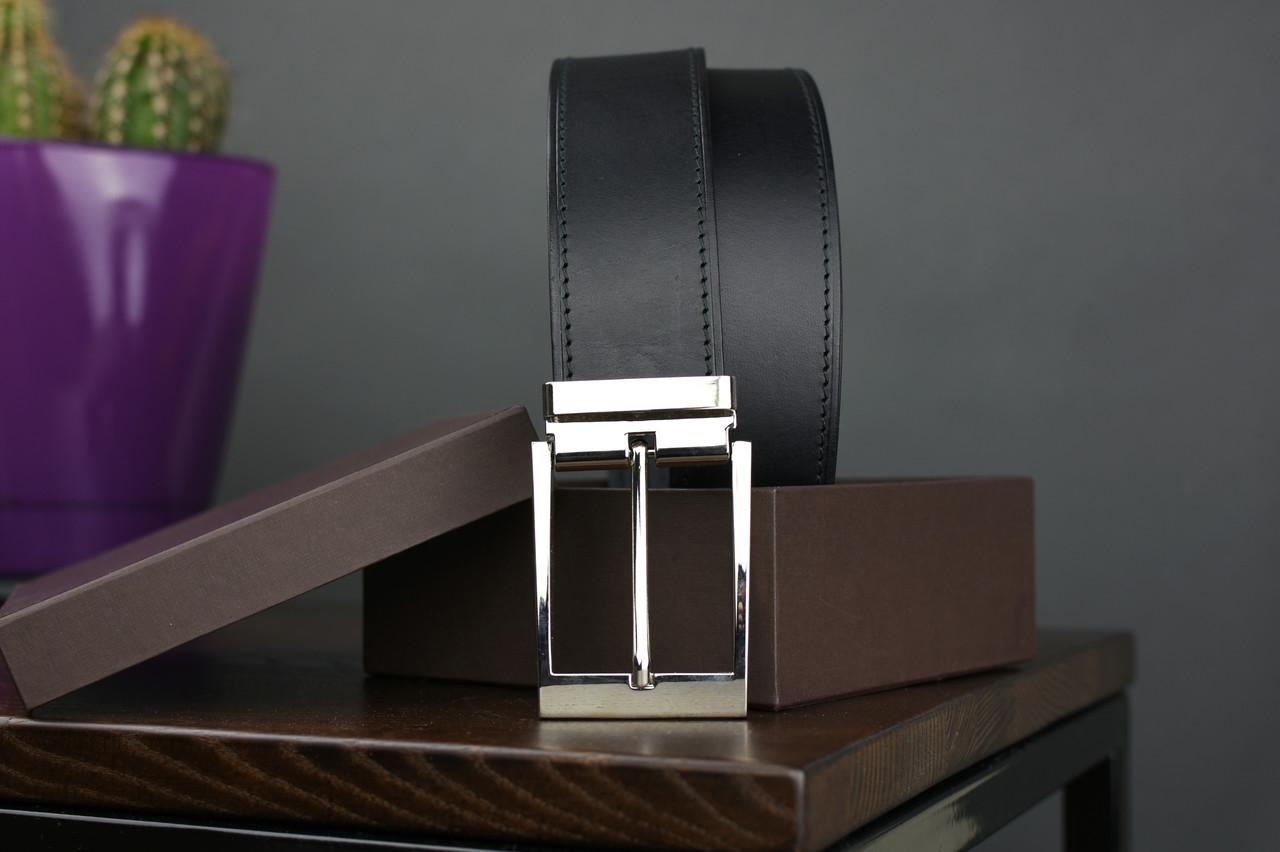 Мужской джинсовый кожаный ремень с прошивкой черного цвета размер l 115 см