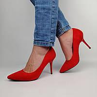 Женские красные замшевые туфли на высоком каблуке 36, в наличии:36,37,39
