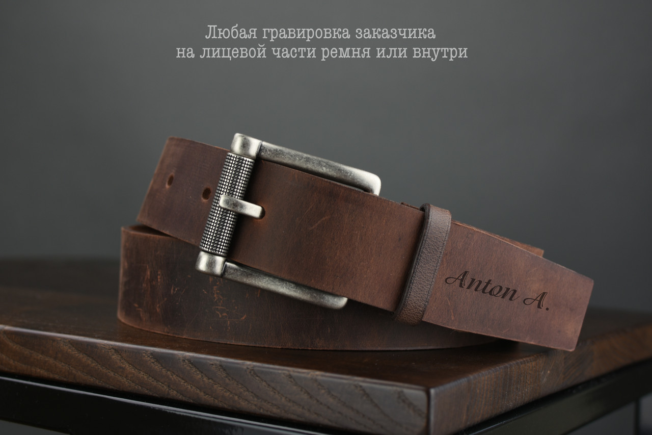 Мужской джинсовый кожаный ремень коричневого цвета размер m 110 см