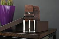 Мужской джинсовый кожаный ремень коричневого цвета размер m 110 см, фото 2
