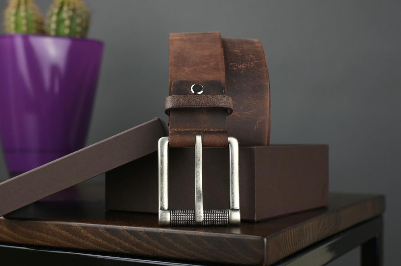 Мужской джинсовый кожаный ремень коричневого цвета размер l 115 см